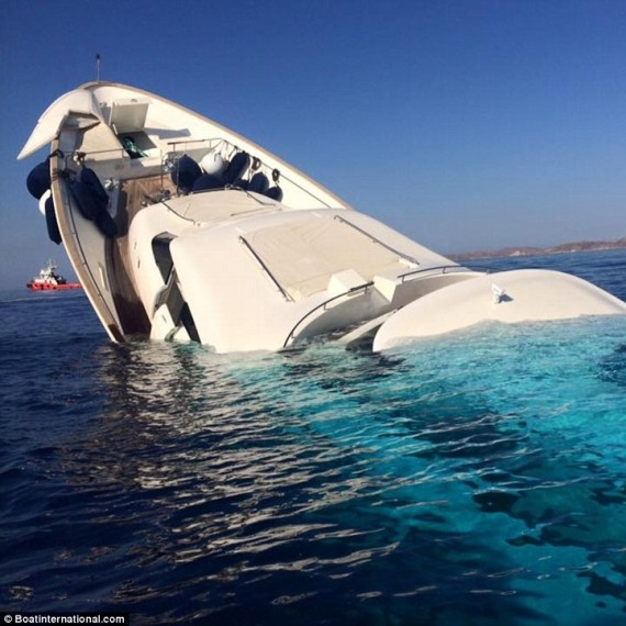 Super Yacht sinks off the coast of Greek island Mykonos